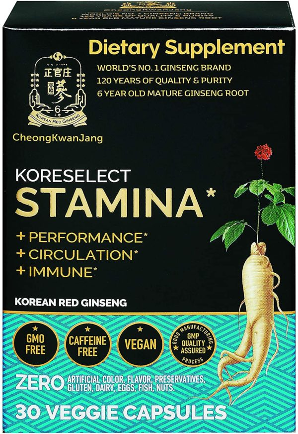 KoreSelect Natural Stamina Booster Pills for Men. Korean Red Panax Ginseng, Maca, and Zinc Supplements for Performance Enhancement, Longer Endurance, and Faster Fatigue Recovery - 30 Powder Capsules
