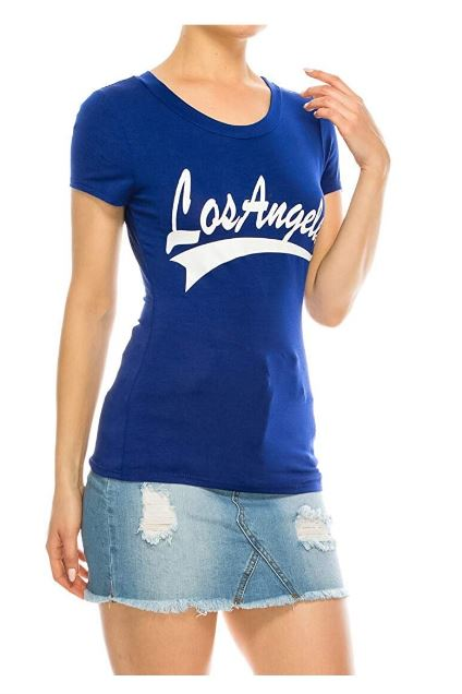 Women's Crew Neck The Legend Los Angeles Graphic MLB Design Short Sleeve T-Shirts