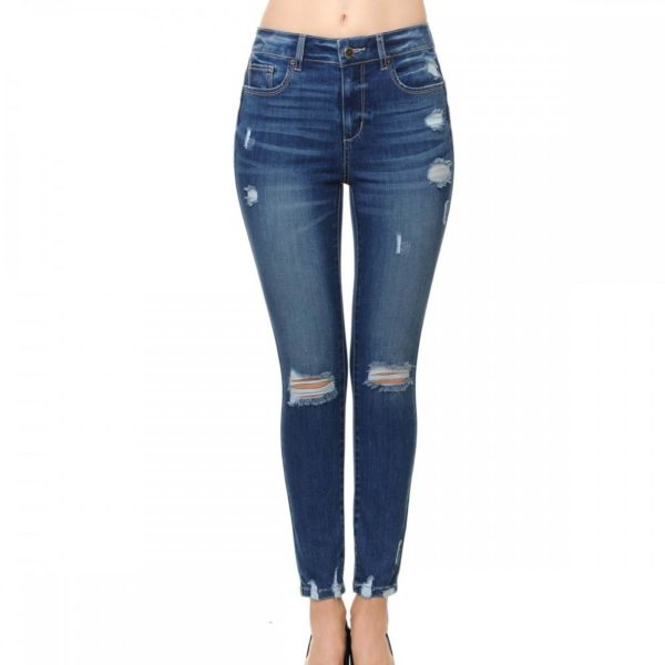 Wax Jean Women's 'Butt I Love You' Push-Up High-Rise Skinny Jeans with Destructed Hem Detail in Fine Cotton Denim - 90134