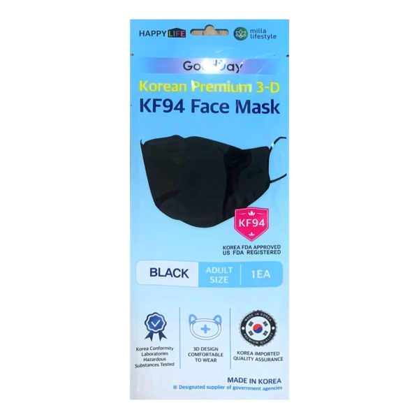 HappyLife GoodDay Premium 3D Single Use Black KF94 Face Mask (10 Pcs)