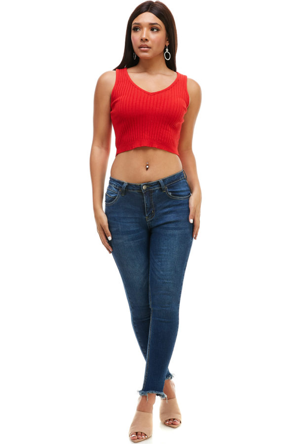 Women's Casual Solid Premium Knit Ribbed Sexy V Neck Sleeveless Crop Tank Top