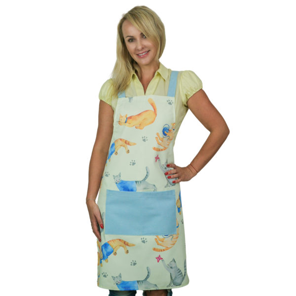 Cute Cat Pattern Meow Apron - Watercolor