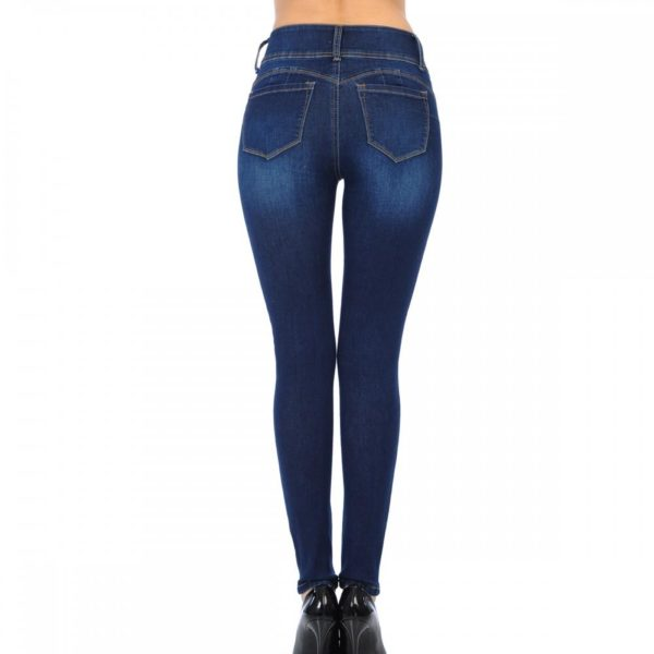 Wax Jean High Waisted Jeans for Women-Stretchy Denim Butt Lifting, Zip Fly, 3-Buttons Push-Up Jeans - 90156