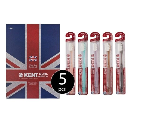[KENT] CRYSTAL DUAL Regular Head Soft FIRM Action soft Toothbrush – Pack of 5