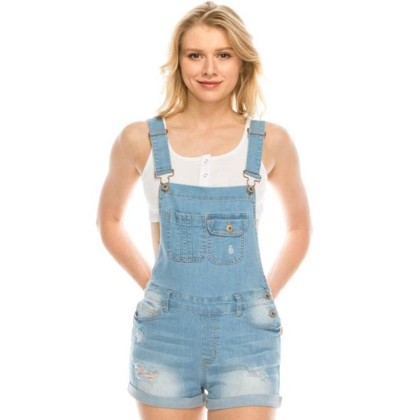 Salt Tree Women's Wax Buckled Straps Rolled Hem Distressed Overall Denim Shorts