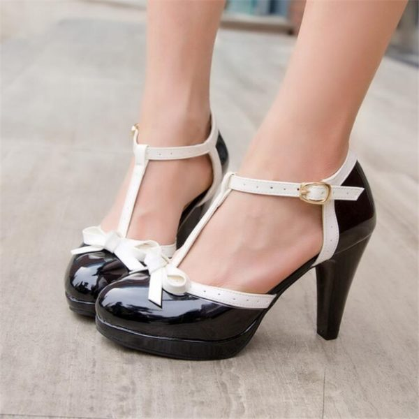 Big Size 33-43 Women Pumps Sweet Bowtie Shoes Vintage Chunky Female High Heels Party Wedding Prom Footwear Girls Shoes