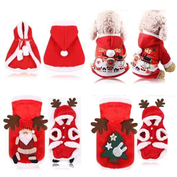 Dog Clothing Christmas Jacket Coat Hoodie Sweater Jumpsuit Puppy Winter Warm for Small Large Dogs Cats Pet Clothes
