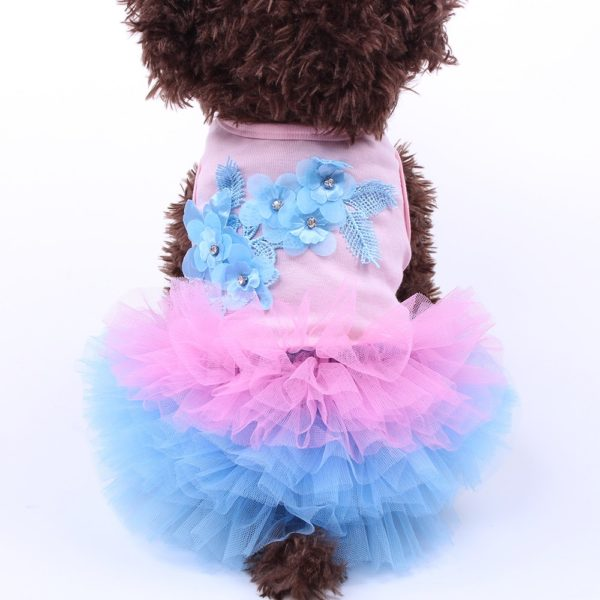 Dog Dress Cat Tutu Flowers Lace Design Pet Puppy Skirt Spring/Summer Clothes Apparel 5 sizes 3 Colours