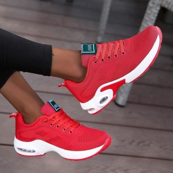 Fashion Women Lightweight Sneakers Air Cushion Ladies Trainers Basket Tenis Casual White Platform Sneakers Breathable Comfort