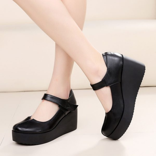 GKTINOO 2020 Spring Leather Women Pumps Platform Wedges Round Toes Ankle Strap Black High Heels Women Shoes