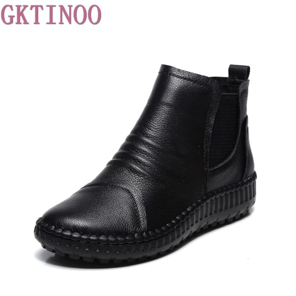 Genuine Leather Shoes Women Boots 2020 Autumn Winter Fashion Handmade Ankle Boots Warm Soft Outdoor Casual Flat Shoes Woman