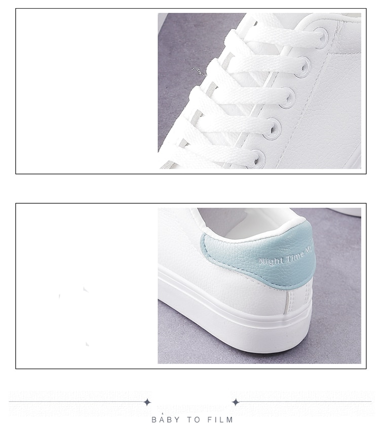 2020 Spring Autumn Fashion Women's Vulcanize Shoes Casual Classic Solid Color PU Leather Flat heel Woman White Shoes Sneakers