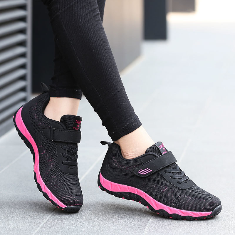 Ladies Sneakers Light Breathable Flat Wear Resisted Anti-Slippery Basket Vulcanized Shoes Women Comfort Casual Shoes Velcro Shoe