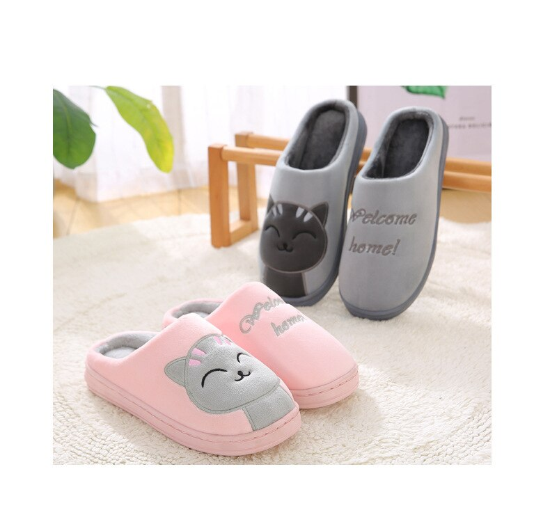 Women Cotton Home Slippers Cartoon Winter Warm Indoor Outdoor Slippers Bedroom Lovers Couples Floor Shoes Anti Slip Rubber Sole