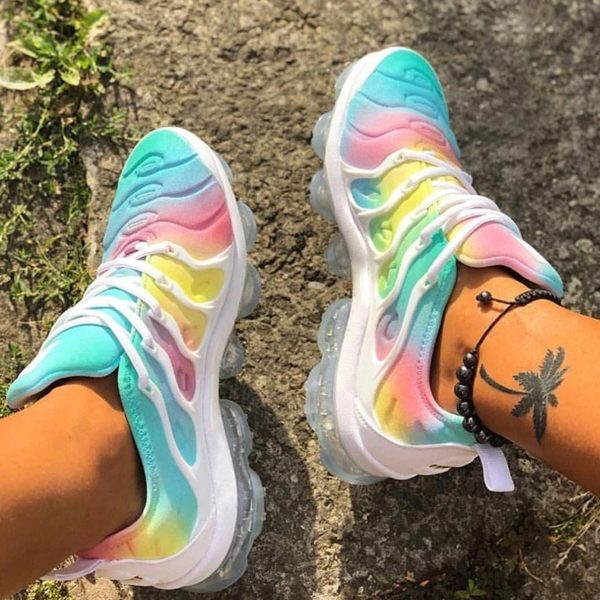 Height Increasing Colorful Running Shoes for Woman Sneakers Outdoor Sport Athletic PLatform Cushioning Footwear Color sole