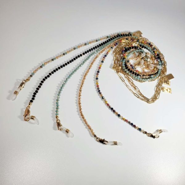 Beads Mask Necklace Fashion Mask Necklace Gold Chain and Colorful Beads