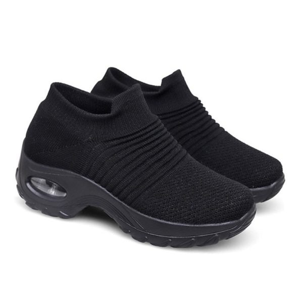 LIN KING Women Outdoor Casual Sport Shoes Plus Size Non Slip Sneakers Slip On Loafers Comfortable Height Increase Swing Shoes