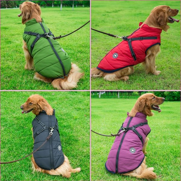 Large Pet Dog Jacket With Harness Winter Warm Dog Clothes For Labrador Waterproof Big Dog Coat Chihuahua French Bulldog Outfits