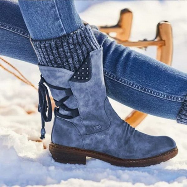 WDHKUN 2020 Hot New Autumn Early Winter Shoes Women Flat Heel Boot Fashion Knitting Patchwork Women's Boots Woman Ankle Botas