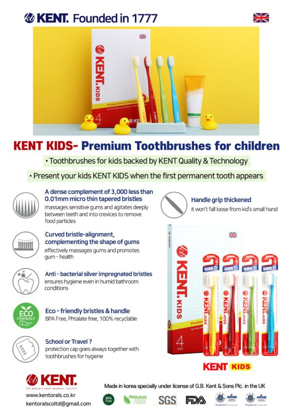Kent Kids Finest Soft Toothbrush for Pack of 4 Plus Ceramic Stand