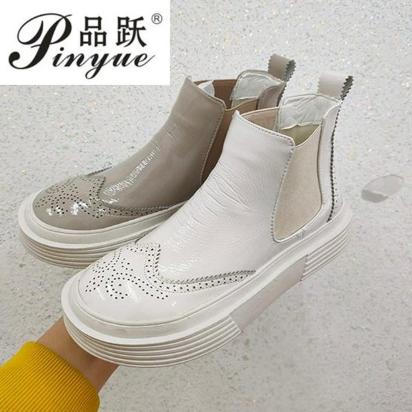 Women's Coat of paint boots Genuine Leather Ankle Shoes Vintage Casual Shoes Brand Design Retro Handmade Women Boots