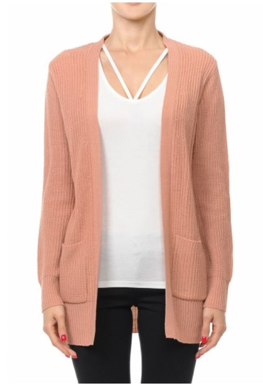 Women's V-Neck Long Sleeve Open Cardigan Knit Sweater with Pockets