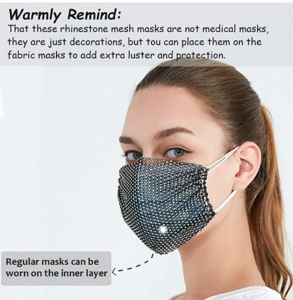 Sparkly Rhinestone Mesh Mask for Women Masquerade Bling Crystal Face Mask