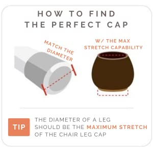 Chair Leg Caps Floor Protectors Elastic Caps w/ Double Felt (Round / 4 & 16 Piece Multipack)