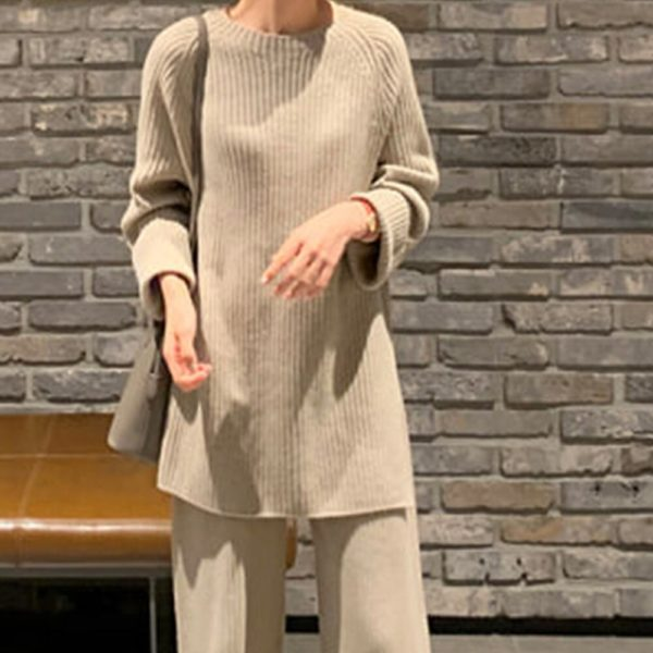 2021 New Fashion Winter Women's Thicken Warm Knitted Pullover Sweater Two-Piece Suits High Waist Loose Wide Leg Pants Set