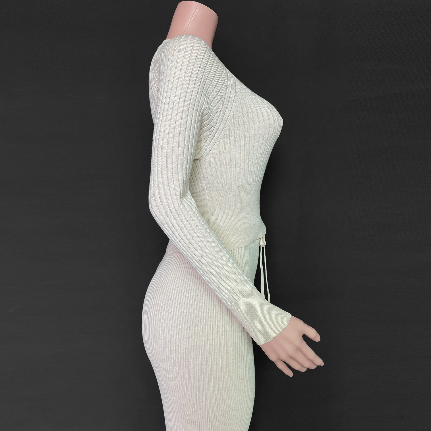 2021 Women's Knitted Sweater Solid Color Round Neck Long Sleeve Outfits Y2K Casual Striped Suit Warm Two Piece Sets Tracksuit