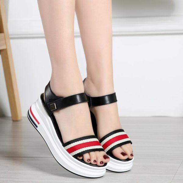 JZZDDOWN Women's Summer Platform Sandals Shoes Woman Concise Gingham Mixed Color Sandalias Mujer Heel High 6cm Casual Sandals