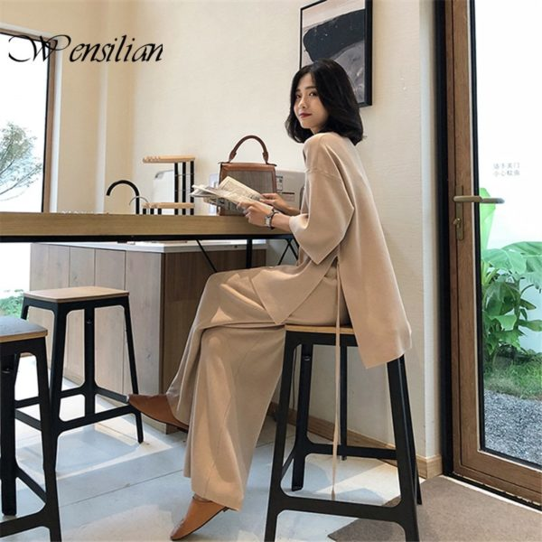 Knitting Sweater Pantsuit Women Two Piece Set Knitted Pullover Suits Long Sleeve V-neck Bandage Top Wide Leg Pants Suit Women