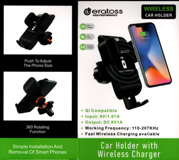 Car Phone Holder Wireless Charger Type WHCH-VENT600-BK